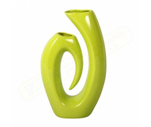 NG 076770ze Váza U AVANDGARD keramická zelená lesklá v20cm 65x160x260