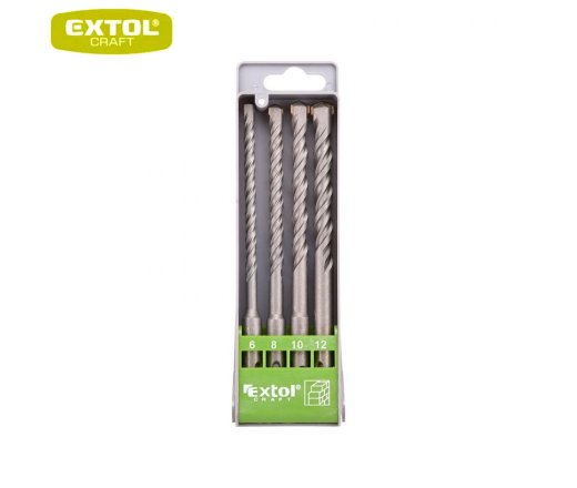 EXTOL Craft Vrtáky SDS+ příklepové do betonu, 6-12 mm, sada 4ks, 23902