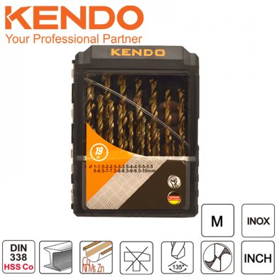 KENDO Sada vrtáků do kovu 1,0-10,0 mm kobaltové HSS-Co DIN338 19ks 11604134