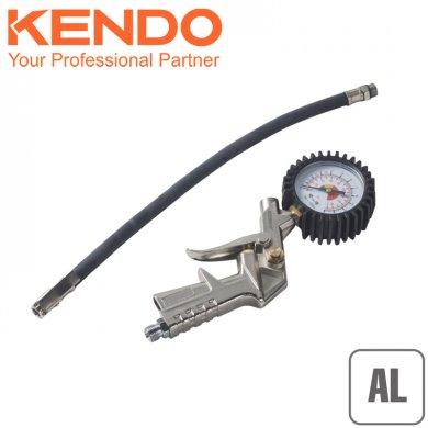 KENDO Hustič pneu s manometrem 0-15 Bar, Al, 75712